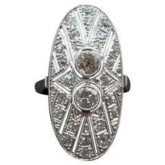 Antique Art Déco Diamond Platinum Navette Cocktail Ring, Austria, Around 1925