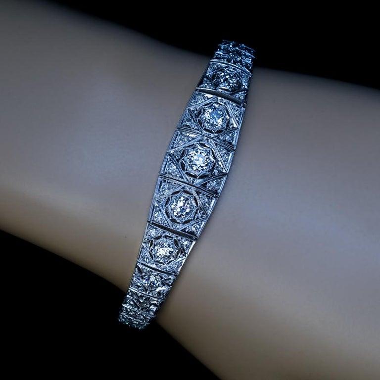 Old European Cut Antique Art Deco Diamond Platinum Openwork Bracelet For Sale