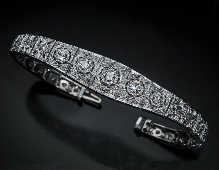 Antique Art Deco Diamond Platinum Openwork Bracelet In Excellent Condition For Sale In Chicago, IL