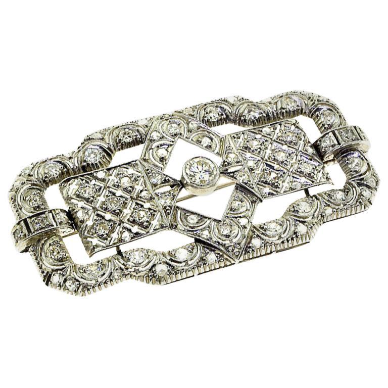 Art Deco Style Diamond Platinum Pendant, Brooch