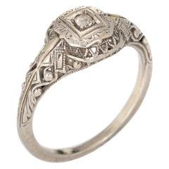 Antique Art Deco Diamond Ring Vintage 18k Gold Filigree Jewelry Old Mine Cut 6