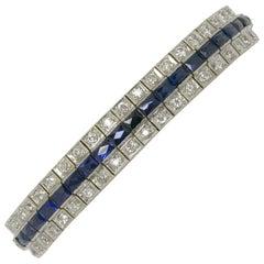 Antique Art Deco Diamond Sapphire Bracelet Over 8 Carat 3-Row Straight Line