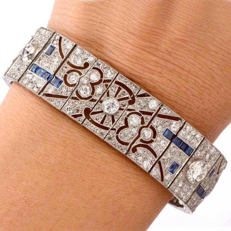 Antique Art Deco Diamond Sapphire Platinum Bracelet In Excellent Condition For Sale In Miami, FL