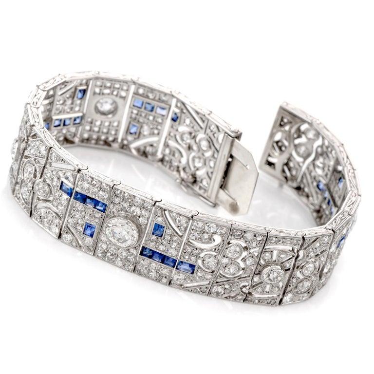 Women's or Men's Antique Art Deco Diamond Sapphire Platinum Bracelet For Sale