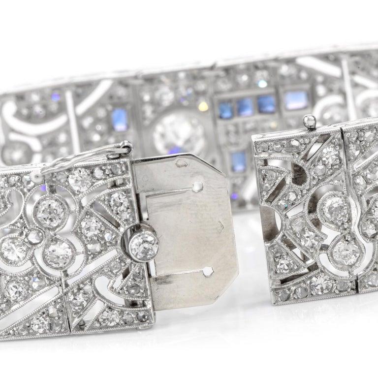 Antique Art Deco Diamond Sapphire Platinum Bracelet For Sale 1