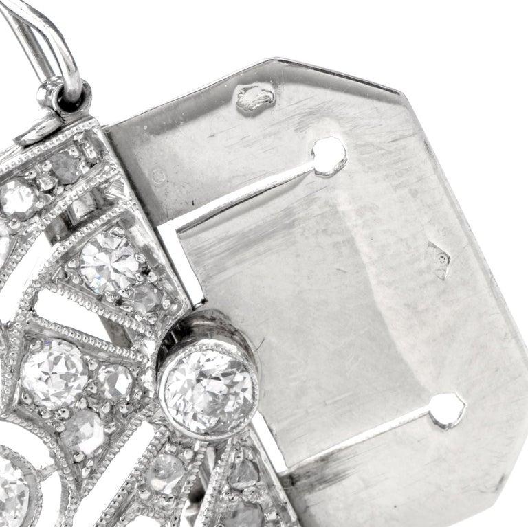 Antique Art Deco Diamond Sapphire Platinum Bracelet For Sale 2