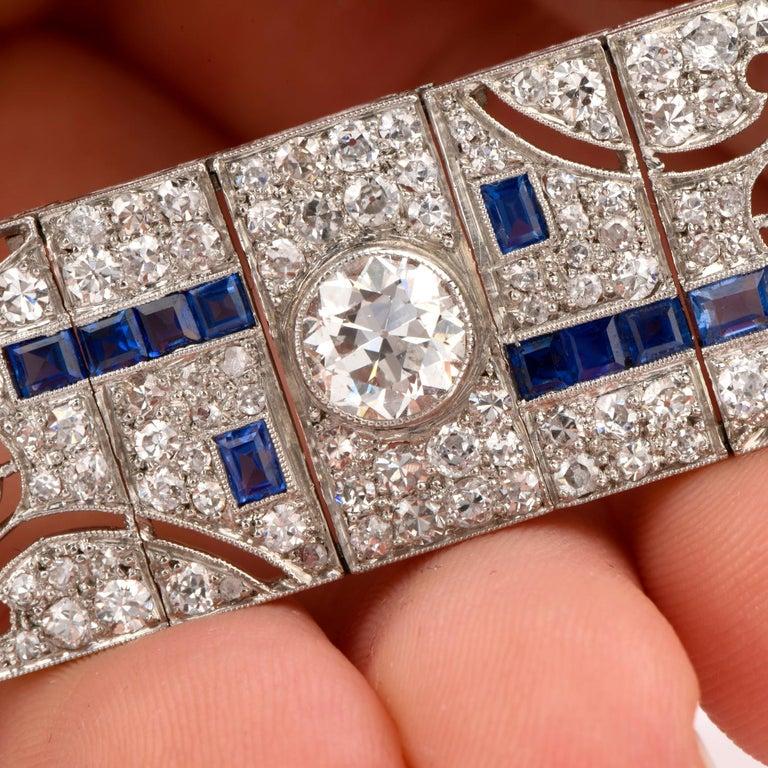 Antique Art Deco Diamond Sapphire Platinum Bracelet For Sale 3