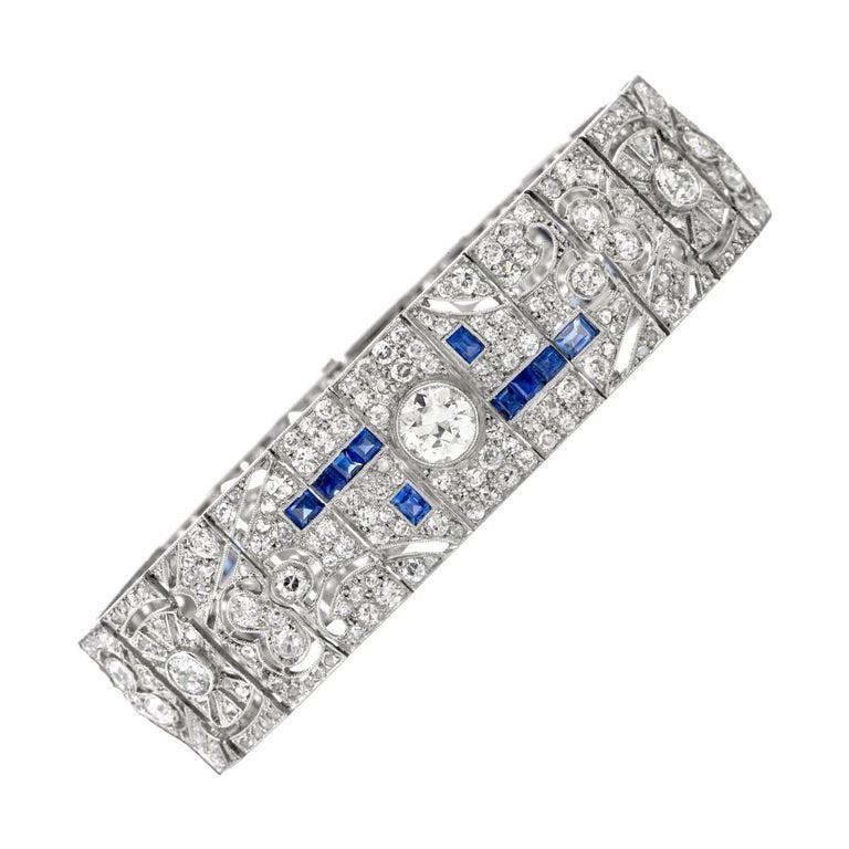 Antique Art Deco Diamond Sapphire Platinum Bracelet For Sale
