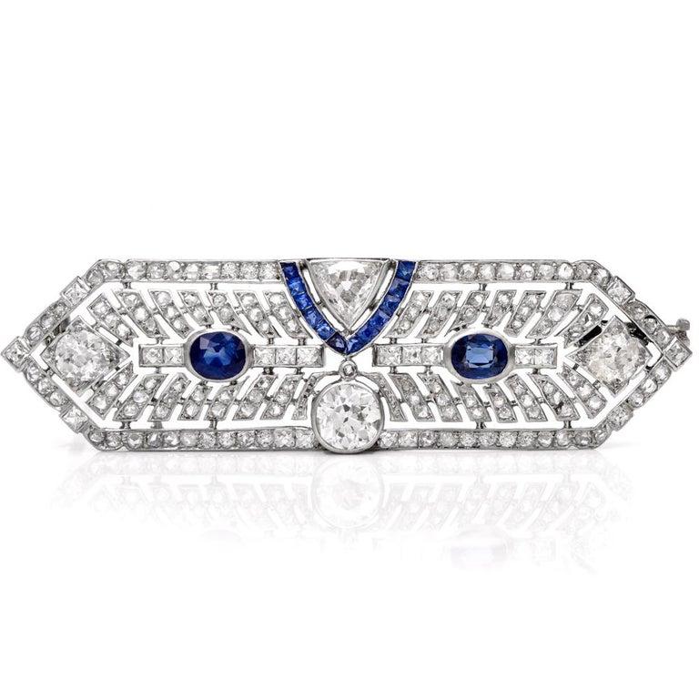 Antique Art Deco Diamond Sapphire Platinum Pin Brooch In Excellent Condition For Sale In Miami, FL