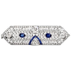 Antique Art Deco Diamond Sapphire Platinum Pin Brooch