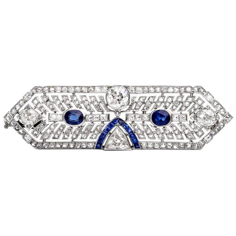 Antique Art Deco Diamond Sapphire Platinum Pin Brooch For Sale