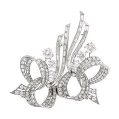 Antique Art Deco Diamond Whimsical Platinum Double Brooch Pin