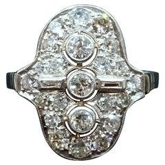 Antique Art Déco Diamond White Gold Navette Cocktail Ring, Austria, Around 1925