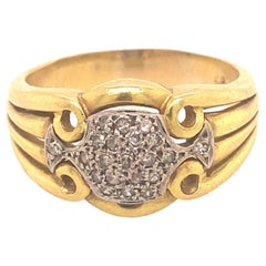 Antique Art Deco Diamonds Platinum 18K Yellow Gold Men's Ring