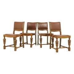 Antique Art Deco Dining Chairs, Bulbous Legs, Carved Oak, Scotland 1930, B1709B