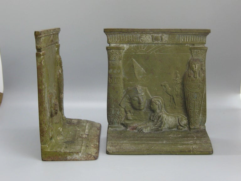 Antique Art Deco Egyptian Revival Judd #9900 Embossed Sphinx Cast Iron Bookends For Sale 10