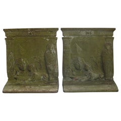 Antique Art Deco Egyptian Revival Judd #9900 Embossed Sphinx Cast Iron Bookends