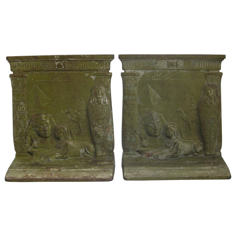 Antique Art Deco Egyptian Revival Judd #9900 Embossed Sphinx Cast Iron Bookends For Sale