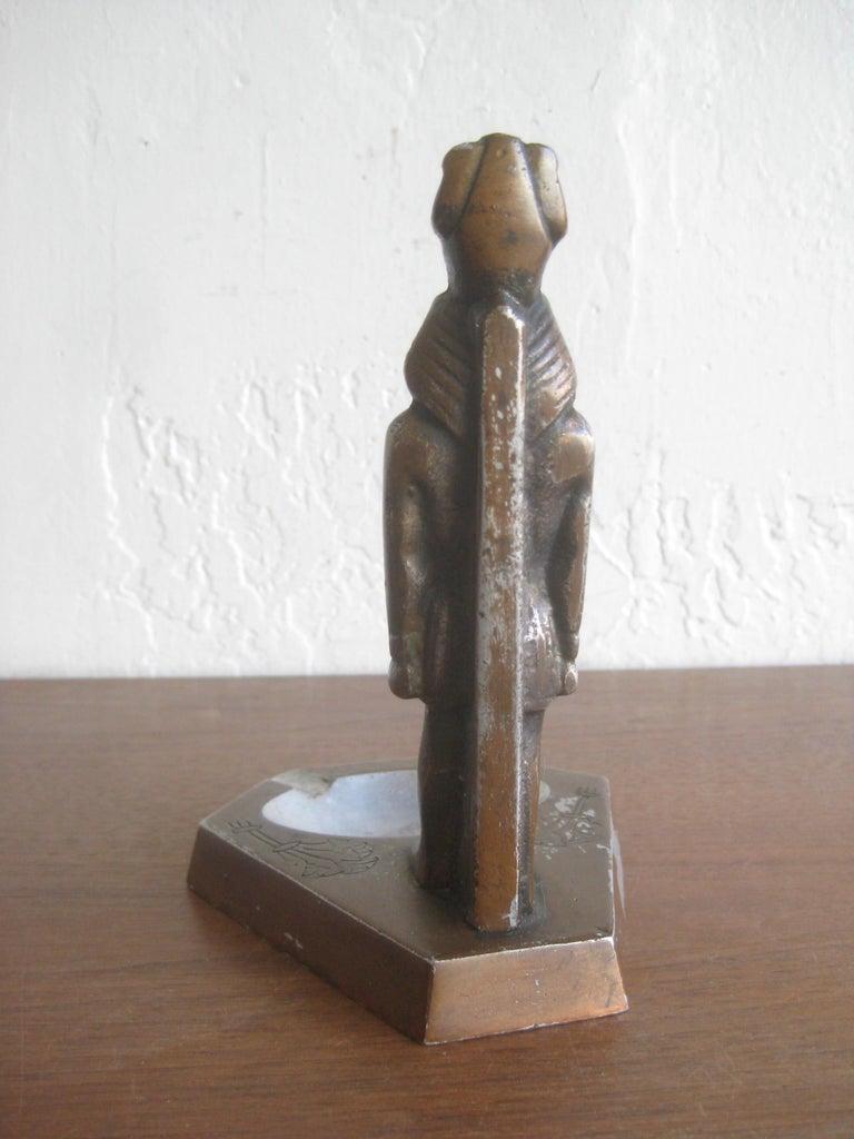 Antique Art Deco Egyptian Revival Pharaoh Figural Aluminum Statue Ashtray For Sale 6
