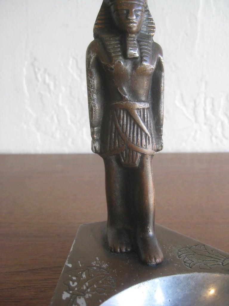 Antique Art Deco Egyptian Revival Pharaoh Figural Aluminum Statue Ashtray For Sale 2