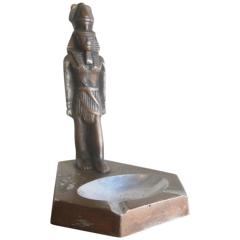 Antique Art Deco Egyptian Revival Pharaoh Figural Aluminum Statue Ashtray For Sale