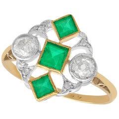 Antique Art Deco Emerald and Diamond Yellow Gold Cocktail Ring, circa 1920