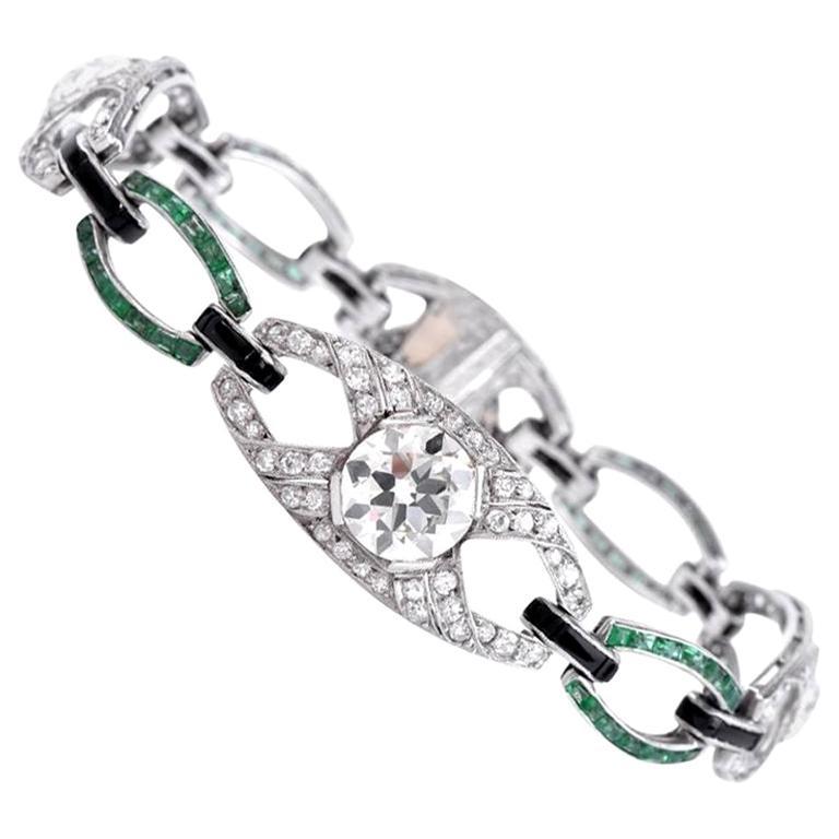 Antique Art Deco Emerald Diamond Platinum Open Link Bracelet