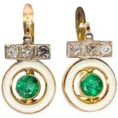 Art Deco Style Enamel, Diamond and Emerald Earrings