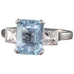 Antique Art Deco English 18K White Gold French Cut Diamond and Aquamarine Engage