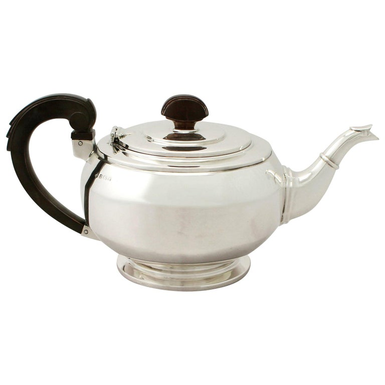Antique Art Deco English Sterling Silver Teapot by William Neale & Son Ltd For Sale