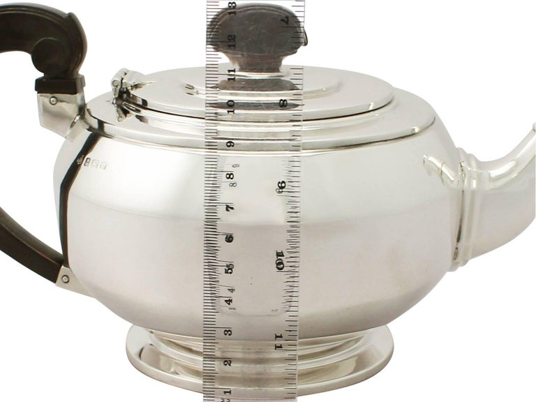 Antique Art Deco English Sterling Silver Teapot by William Neale & Son Ltd For Sale 5