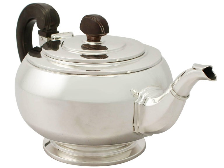 British Antique Art Deco English Sterling Silver Teapot by William Neale & Son Ltd For Sale