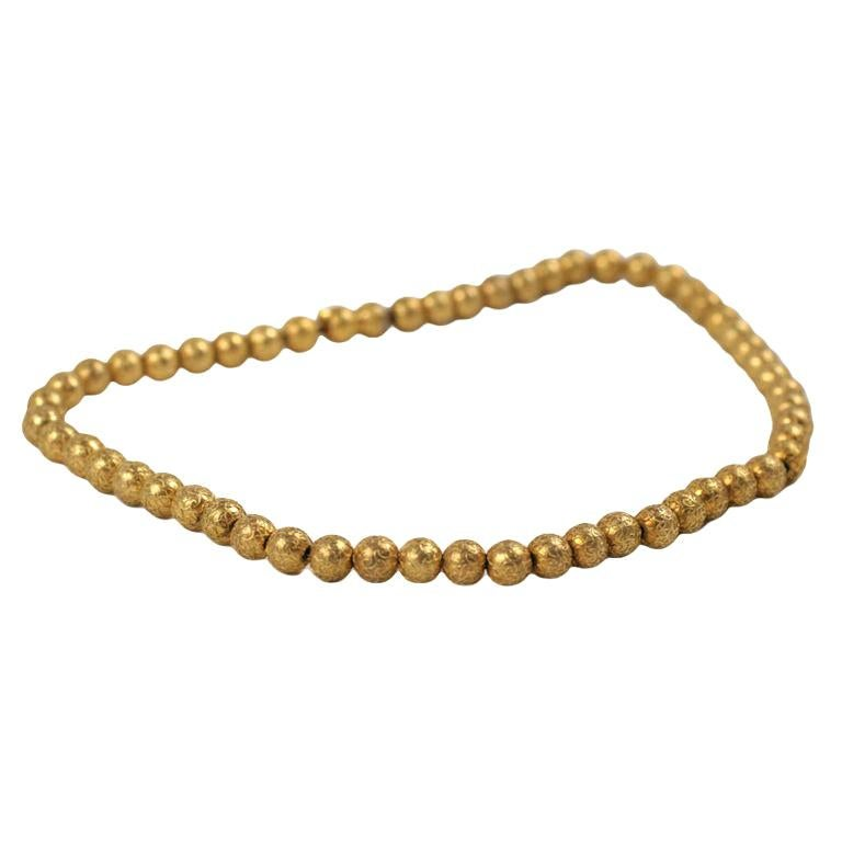 Antique Art Deco Engraved Gold Spider Web Gold Bead Necklace For Sale