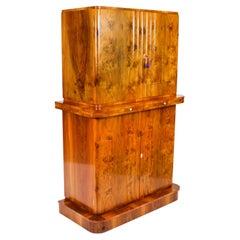 Antique Art Deco Epstein Burr Walnut Cocktail Cabinet Dry Bar 1920s