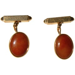 Antique Art Deco Era 14 Karat Gold Carnelian Cufflinks