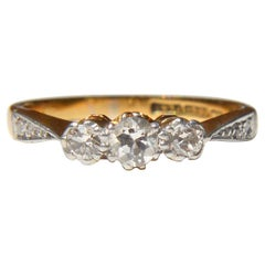Antique Art Deco Era .5 Carat Diamond 18 Karat Gold Trinity Engagement Ring