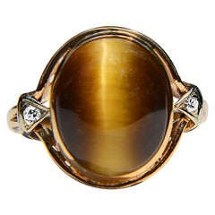 Antique Art Deco Era 6 Carat Tiger's Eye Diamond 14 Karat Gold Ring