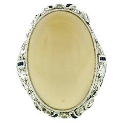 Antique Art Deco Fancy Platinum Moonstone Diamond Sapphire Filigree Large Ring