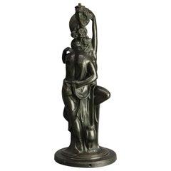 Antique Art Deco Figural Paul Herzel Bronzed Clad Sculptural Lamp Base, c1930