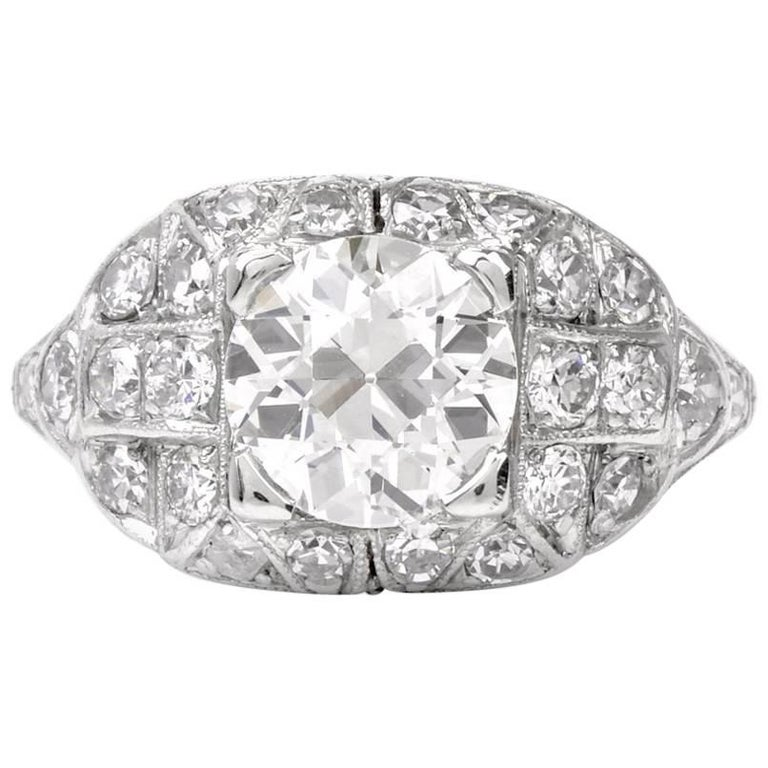 Antique Engagement Rings For Sale: Antique Art Deco Filigree Diamond Platinum Engagement Ring