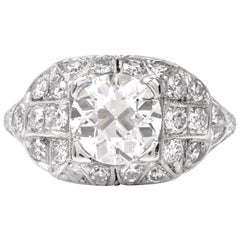 Antique Art Deco Filigree Diamond Platinum Engagement Ring