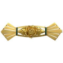 Art Deco 18 Karat Gold Green Enamel Sunburst Flower Rose Leaves France Brooch