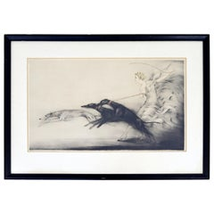 Antique Art Deco Framed Etching of a Woman & Greyhounds Signed Louis Icart 1927