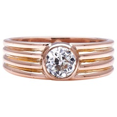 Antique Art Deco, French, 18 Carat Rose Gold, Diamond Ring
