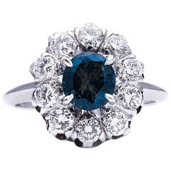 Antique Art Deco, French, 18 Carat White Gold, Cobalt Spinel and Sapphire Ring