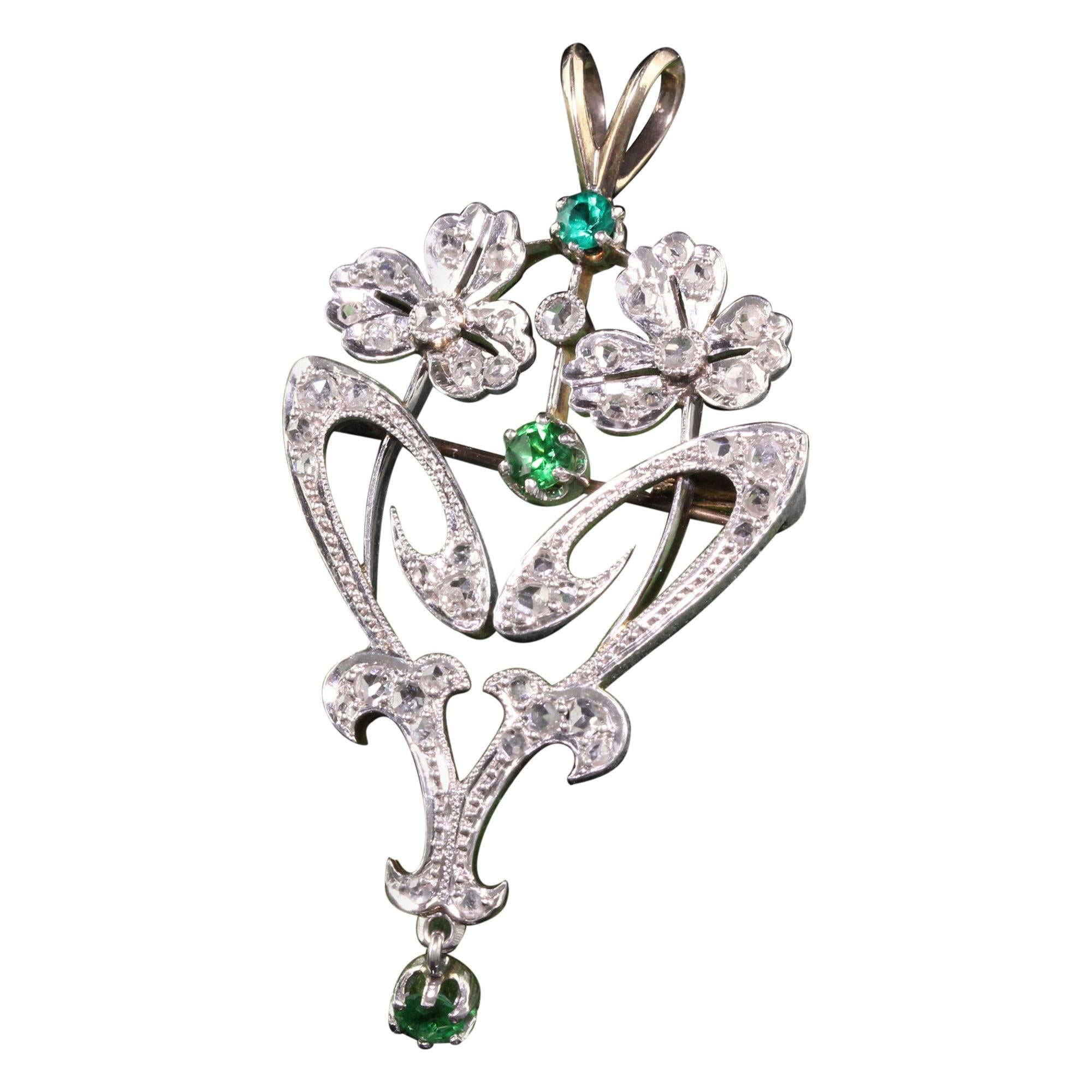 Antique Art Deco French 18K Platinum Diamond and Emerald Flower Pin Pendant