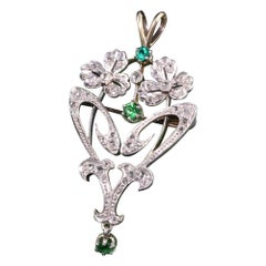 Antique Art Deco French 18K Platinum Diamond and Emerald Flower Pin Pendant