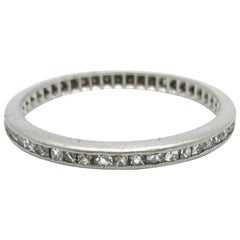 Antique Art Deco French Cut Diamond Eternity Band Platinum