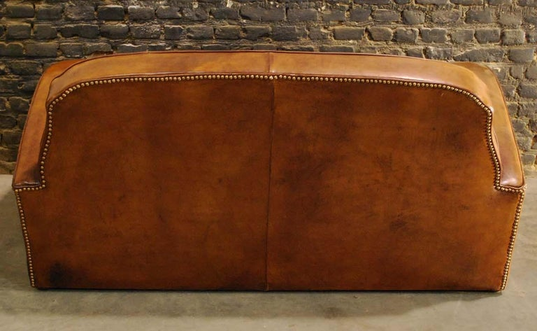 Antique Art Deco French Leather Two-Seat Club Sofa For Sale 6