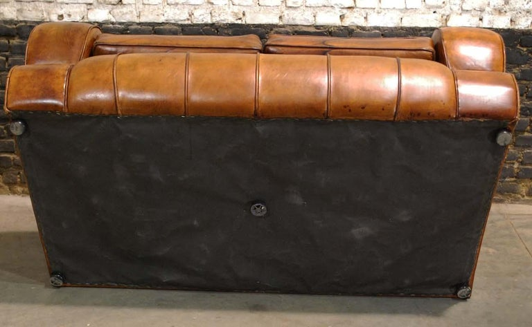 Antique Art Deco French Leather Two-Seat Club Sofa For Sale 8